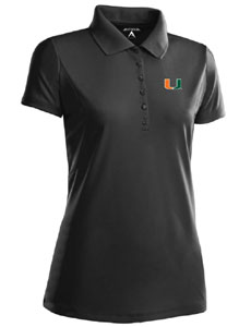 Miami Womens Pique Xtra Lite Polo Shirt (Team Color: Black) - Medium