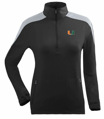 Miami Womens Succeed 1/4 Zip Performance Pullover (Team Color: Black)