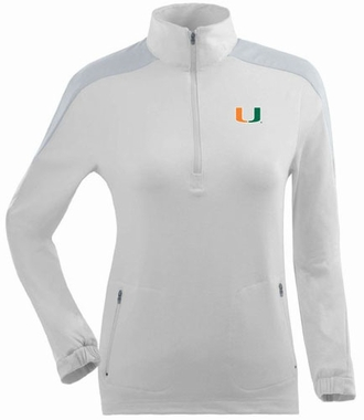 Miami Womens Succeed 1/4 Zip Performance Pullover (Color: White)