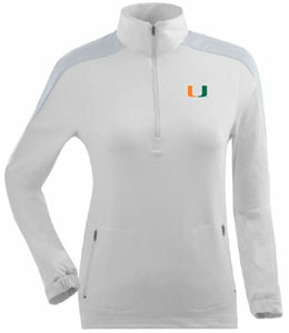 Miami Womens Succeed 1/4 Zip Performance Pullover (Color: White) - Small