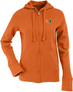 Miami Womens Zip Front Hoody Sweatshirt (Color: Orange) - Medium