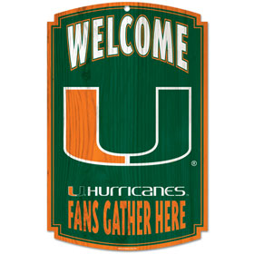 "Miami Hurricanes Wood Sign - 11"" x 17"""