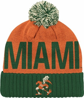 Miami Wordmark & Logo Pom Knit Hat
