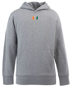 Miami YOUTH Boys Signature Hooded Sweatshirt (Color: Gray) - Small