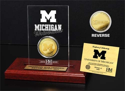 Michigan Wolverines University of Michigan 24KT Gold Coin Etched Acrylic