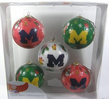 Michigan 5 Pack Decoupage Ball Ornament Set