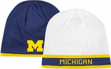 Michigan Adidas Cuffless Reversible Player Knit Hat