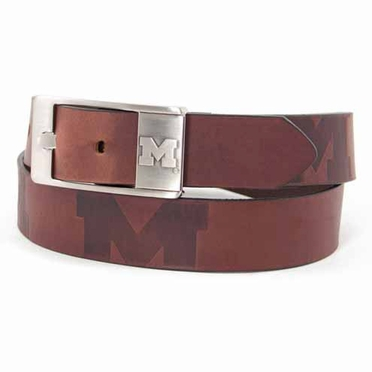 Michigan Brown Leather Brandished Belt