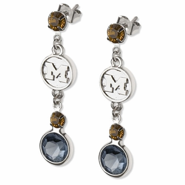 Michigan Crystal Logo Dangle Earrings