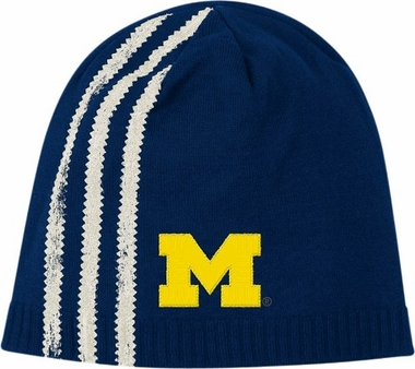 Michigan Cuffless Distressed Striped Knit Hat