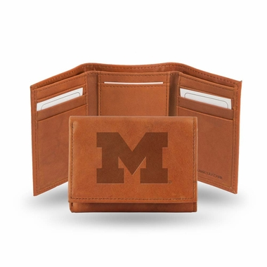 Michigan Embossed Leather Trifold Wallet