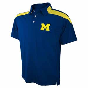 Michigan Embroidered Logo Polyester Polo Shirt - Large