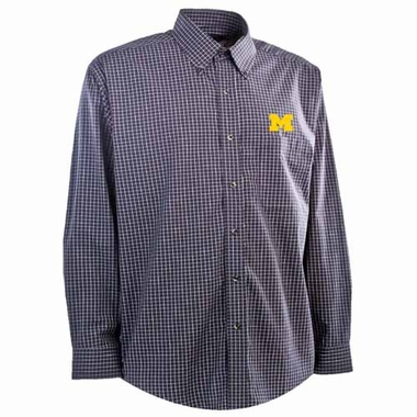 Michigan Mens Esteem Button Down Dress Shirt (Team Color: Navy)