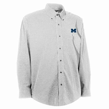 Michigan Mens Esteem Check Pattern Button Down Dress Shirt (Color: White)