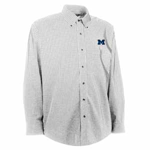 Michigan Mens Esteem Check Pattern Button Down Dress Shirt (Color: White) - Large