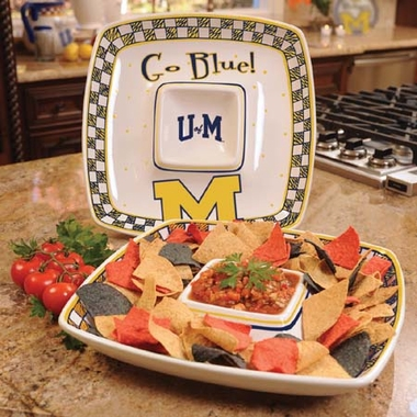 Michigan Gameday Ceramic Chip and Dip Platter