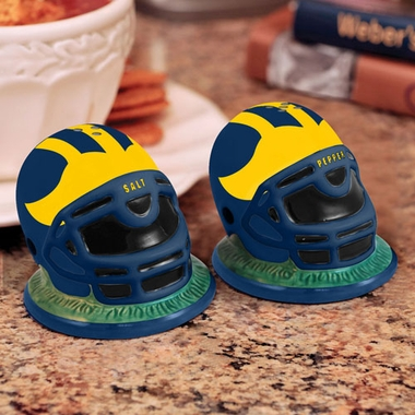 Michigan Helmet Ceramic Salt and Pepper Shakers