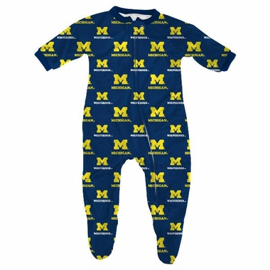 Michigan Infant Footed Zip Raglan Coverall Sleeper