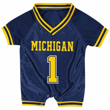 Michigan Infant Pounce Football Jersey Onesie