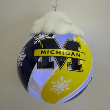 Michigan Light Up Glass Ball Ornament