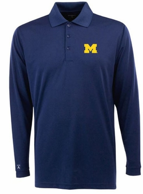 Michigan Mens Long Sleeve Polo Shirt (Team Color: Navy)
