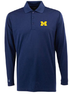 Michigan Mens Long Sleeve Polo Shirt (Color: Navy) - Medium
