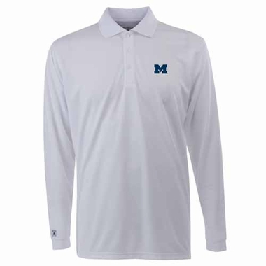 Michigan Mens Long Sleeve Polo Shirt (Color: White)