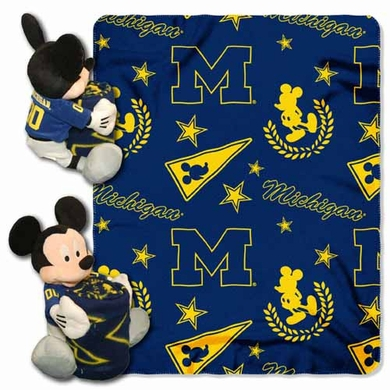 Michigan Mickey Mouse Pillow / Throw Combo