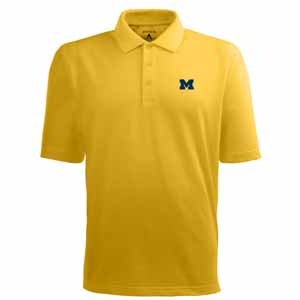 Michigan Mens Pique Xtra Lite Polo Shirt (Color: Gold) - X-Large