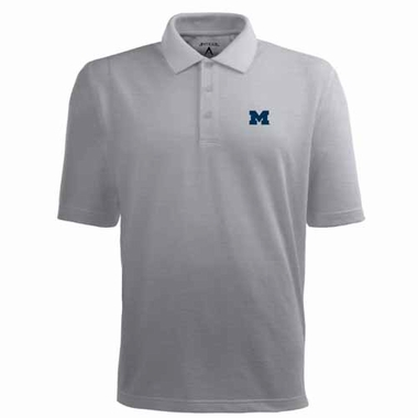 Michigan Mens Pique Xtra Lite Polo Shirt (Color: Gray)