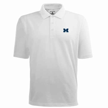 Michigan Mens Pique Xtra Lite Polo Shirt (Color: White)