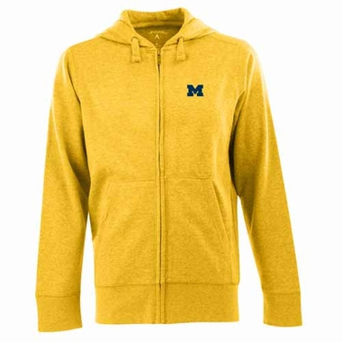 Michigan Mens Signature Full Zip Hooded Sweatshirt (Color: Gold)