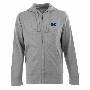 Michigan Mens Signature Full Zip Hooded Sweatshirt (Color: Gray)