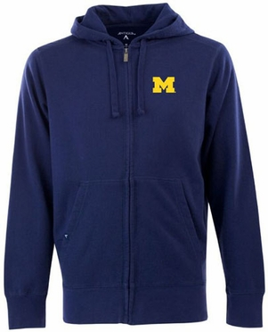 Michigan Mens Signature Full Zip Hooded Sweatshirt (Team Color: Navy)