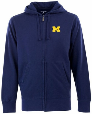 Michigan Mens Signature Full Zip Hooded Sweatshirt (Color: Navy)