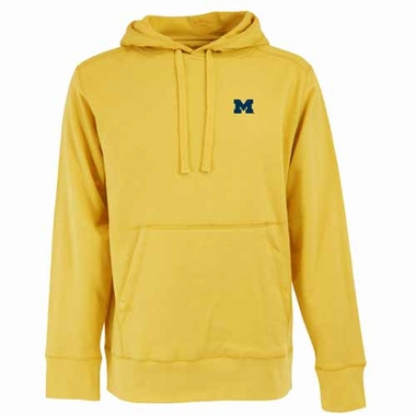 Michigan Mens Signature Hooded Sweatshirt (Color: Gold)
