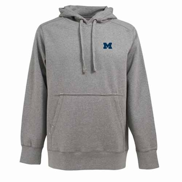 Michigan Mens Signature Hooded Sweatshirt (Color: Gray)