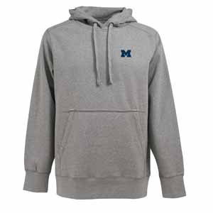 Michigan Mens Signature Hooded Sweatshirt (Color: Gray) - Medium