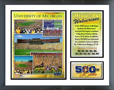 Michigan Stadium Michigan 500th game Framed Milestones & Memories