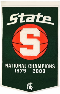 "Michigan State 24""x36"" Basketball Dynasty Wool Banner"