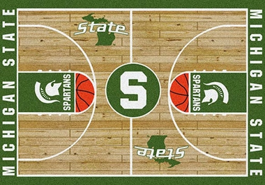 "Michigan State 7'8"" x 10'9"" Premium Court Rug"