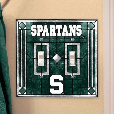 Michigan State Art Glass Lightswitch Cover (Double)