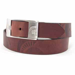 Michigan State Brown Leather Brandished Belt - Size 34 (For 32 Inch Waist)