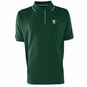 Michigan State Mens Elite Polo Shirt (Color: Green) - Large
