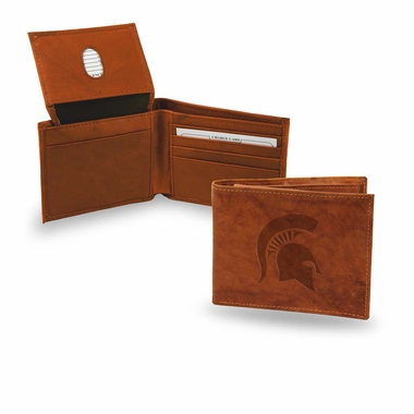 Michigan State Embossed Leather Bifold Wallet