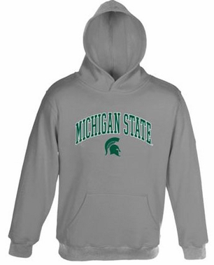 Michigan State Embroidered Hooded Sweatshirt (Grey)