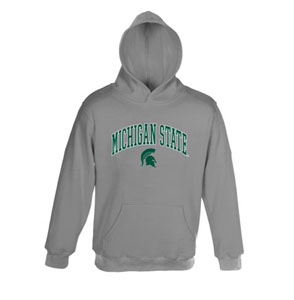 Michigan State Embroidered Hooded Sweatshirt (Grey) - Large