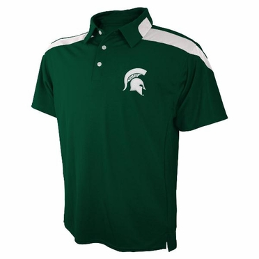 Michigan State Embroidered Logo Polyester Polo Shirt