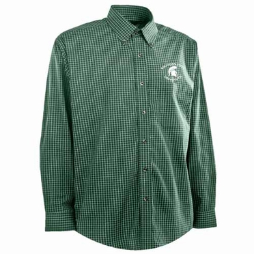 Michigan State Mens Esteem Check Pattern Button Down Dress Shirt (Team Color: Green)