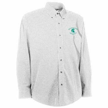 Michigan State Mens Esteem Check Pattern Button Down Dress Shirt (Color: White)